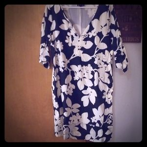 Gap blue and ivory floral dress